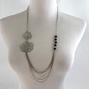 Silver Tone Multiple Chain Long Necklace